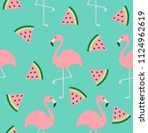 flamingo set. seamless pattern... | Shutterstock . vector #1124962619