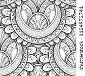 monochrome seamless pattern... | Shutterstock . vector #1124972741