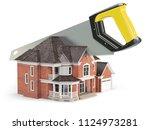 saw is splitting a house... | Shutterstock . vector #1124973281