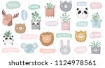 vector set of cute doodle... | Shutterstock .eps vector #1124978561