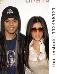"Small photo of Evan Ross and Kimberly Kardashian at Samsung and Sprint ""The Upstage"" Country Club. Private Location, Beverly Hills, CA. 04-15-07"