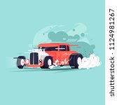 hot rod. flat design vector... | Shutterstock .eps vector #1124981267