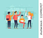 people go by public transport ... | Shutterstock .eps vector #1124981927