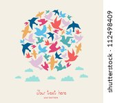 ball of birds  celebration card ... | Shutterstock .eps vector #112498409
