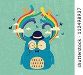 Happy Owl With Rainbow