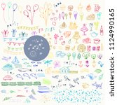 hand drawn colorful doodle and... | Shutterstock .eps vector #1124990165