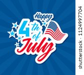 happy 4th of july with usa flag ... | Shutterstock .eps vector #1124997704