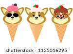 a set of three cute corgi... | Shutterstock . vector #1125016295