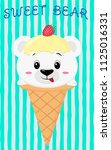 cute polar bear in the image of ... | Shutterstock . vector #1125016331