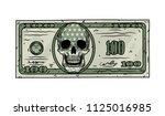 100 dollar bill with skull. one ...   Shutterstock .eps vector #1125016985