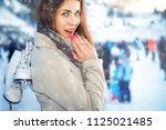 ice skateing  beautiful woman...   Shutterstock . vector #1125021485