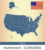 usa flag and map vector outline ... | Shutterstock .eps vector #1125023081