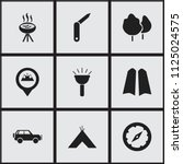 set of 9 editable camping icons.... | Shutterstock .eps vector #1125024575