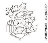 cute cartoon pig in love with... | Shutterstock . vector #1125028214