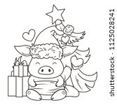 cute cartoon pig in love with... | Shutterstock . vector #1125028241