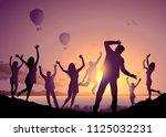 illustration with happy dancing ... | Shutterstock .eps vector #1125032231