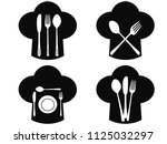 chef hat with fork  knife and... | Shutterstock .eps vector #1125032297