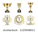 gold goblets and round emblems... | Shutterstock .eps vector #1125048011