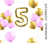 birthday 5 years card with... | Shutterstock .eps vector #1125051125