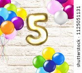 birthday 5 years card with... | Shutterstock .eps vector #1125051131