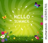 hello summer poster with... | Shutterstock .eps vector #1125051701