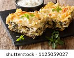 casserole of lasagna with... | Shutterstock . vector #1125059027