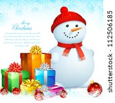 illustration of snowman with... | Shutterstock .eps vector #112506185