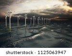 wind turbines generating... | Shutterstock . vector #1125063947