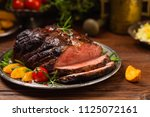roasted brisket. rustic style ... | Shutterstock . vector #1125072161