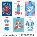 set of six ocean greeting cards ... | Shutterstock .eps vector #1125072734