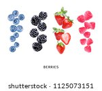 strawberries  raspberries ... | Shutterstock . vector #1125073151