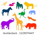 set of colored animal... | Shutterstock .eps vector #1125074447