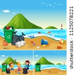 children help cleaning dirty... | Shutterstock .eps vector #1125078221