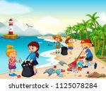 volunteer children cleaning... | Shutterstock .eps vector #1125078284