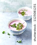 cold beetroot soup with dill... | Shutterstock . vector #1125081251