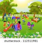 happy children playing | Shutterstock .eps vector #112511981