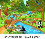 forest animals coming to drink... | Shutterstock .eps vector #112511984