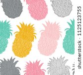 seamless pattern with pineapple ... | Shutterstock . vector #1125123755