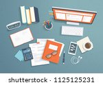 top view of workplace... | Shutterstock .eps vector #1125125231