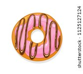 donut with pink glaze and... | Shutterstock .eps vector #1125127124