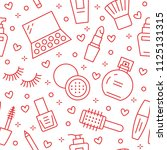 makeup beauty care red seamless ... | Shutterstock .eps vector #1125131315