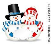 pair of christmas snowmen with...   Shutterstock .eps vector #1125146549