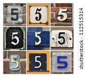 collage of house numbers five | Shutterstock . vector #112515314