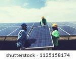 engineer team working on... | Shutterstock . vector #1125158174
