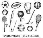 sports equipment balls and... | Shutterstock .eps vector #1125160331