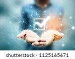 2d illustration checkbox tick | Shutterstock . vector #1125165671