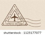 air mail triangle postmark... | Shutterstock . vector #1125177077