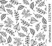 doodles maple  oak  ash  rowan... | Shutterstock .eps vector #1125179099