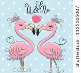 two cute cartoon flamingos on a ... | Shutterstock .eps vector #1125205007
