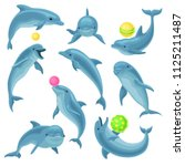 Cute Blue Dolphins Set  Dolphi...